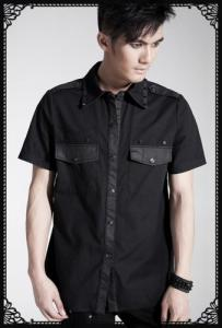 Punk-rave Basic design pocket short sleeve shirt
